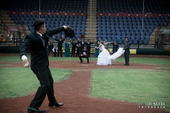 chihuahua, estadio monumental, béisbol, boda, Gris y David, pitcher, pelota